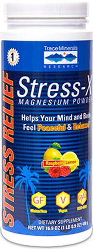 Trace Minerals Stress-X Magnesium Powder 350 mg. 17 oz. Powder Raspberry Lemon