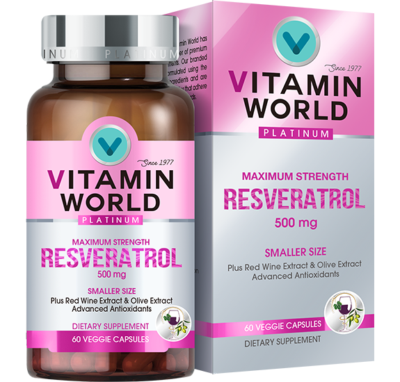 Vitamin World® Platinum Maximum Strength Resveratrol 500 mg.