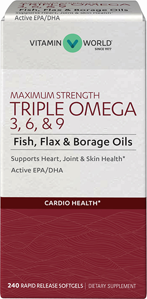Maximum Strength Triple Omega 3 6 9 240 Softgels Heart Health