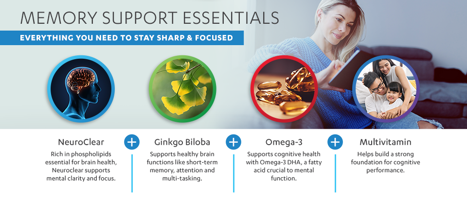 Memory Support Essentials: Everything You Need to Stay Sharp & Focused. NeuroClear phosphatidylserine (Rich in phospholipids essential for brain health, NeuroClear supports mental clarity and focus.) plus Ginkgo Biloba (Supports healthy brain functions like short-term memory, attention and multi-tasking.) plus Omega-3 (Supports cognitive health with Omega-3 DHA, a fatty acid crucial to mental function.) plus a Multivitamin (Helps build a strong foundation for cognitive performance.).