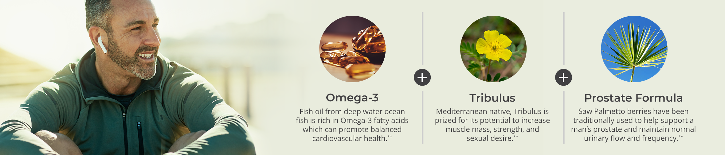 Omega-3 ( Fish oil from deep water ocean fish is rich in Omega-3 fatty acids which can promote balanced cardiovascular health.) plus Tribulus (Mediterranean native Tribulus is prized for its potential to increase muscle mass, strength, and sexual desire.) plus Prostate Formula (Saw Palmetto berries have been traditionally used to support a man's prostate and maintain normal urinary flow and frequency.)